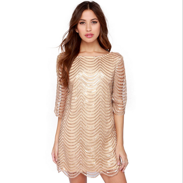 Fashion Sexy gold sequined show thin half sleeve dress