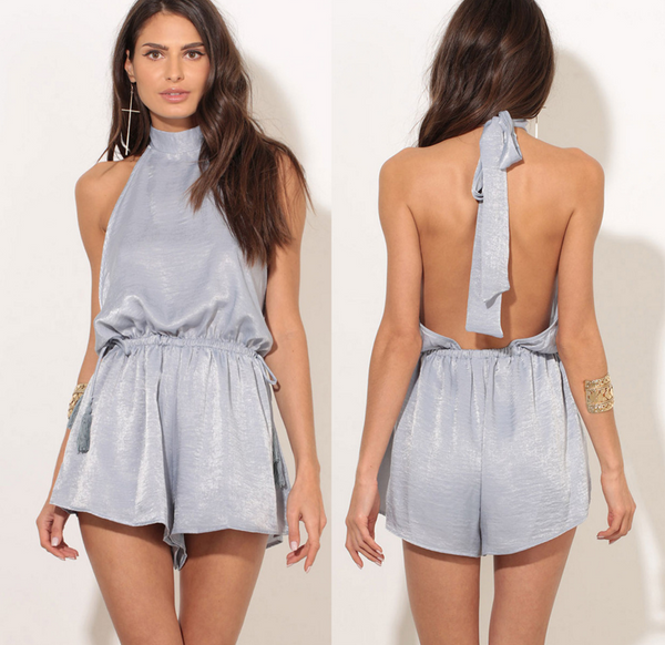 Sexy halter off shoulder show thin pure color backless romper