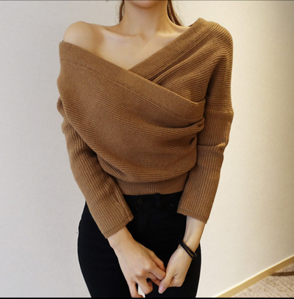 Fashion new sexy strapless V collar collar women fashion sweater