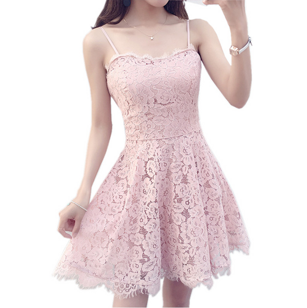 New Sexy straps lace show thin gauze dress