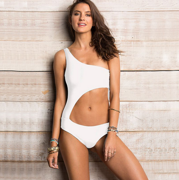 Secy pure white one shoulder belly big holes open one piece bikini show tihn