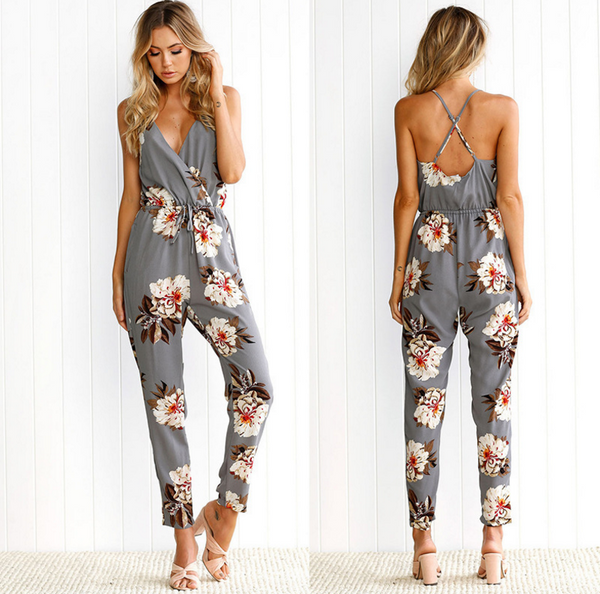 Fashion sexy off shoulder v neck print flower show thin jumpsuit