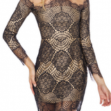 On Sale BUD SILK NET YARN SPLICING IS LINED WITH LONG SLEEVE ROUND COLLAR DRESS