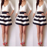 On Sale BLACK AND WHITE STRIPE DRESS QUALITY OF CULTIVATE ONE'S MORALITY RENDER SKIRT