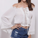 Strapless Lace Stitching Jacket Shirt