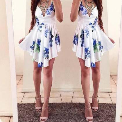 PRINTED IRREGULAR V-NECK DRESS