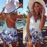 PRINTING V-NECK BLUE WHITE JUMPSUITS ROMPER