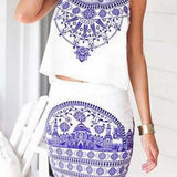HOT BLUE WHITE TWO PIECE DRESS