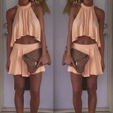 CHIFFON IRREGULAR TWO SUIT JACKET SKIRT TWO PIECE