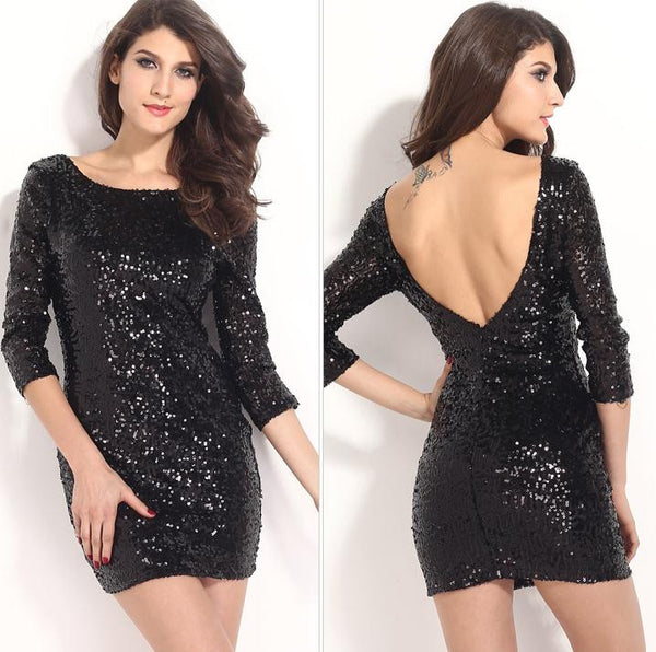 Black Backless 3/4 Sleeve Sequins Dress