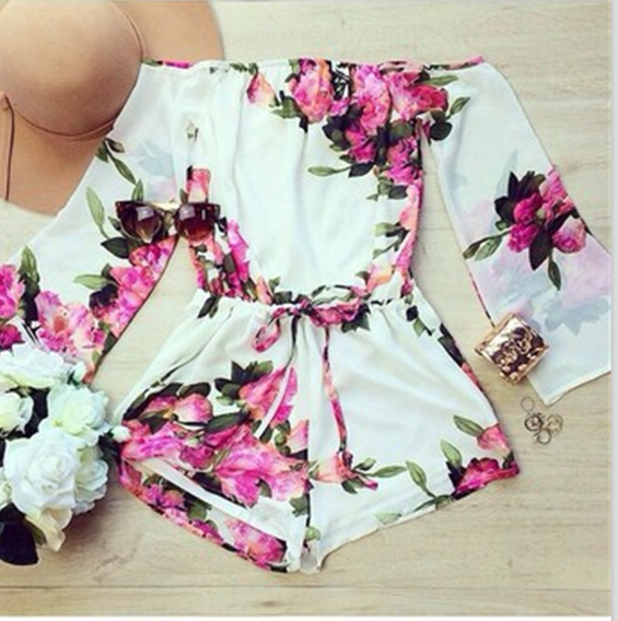 FASHION ONE WORD FLOWER JUMPSUIT HIGH QUALITY