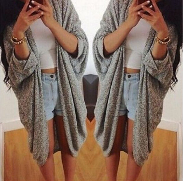 Gray None-Button Long-Sleeve Asymmetrical Cardigan