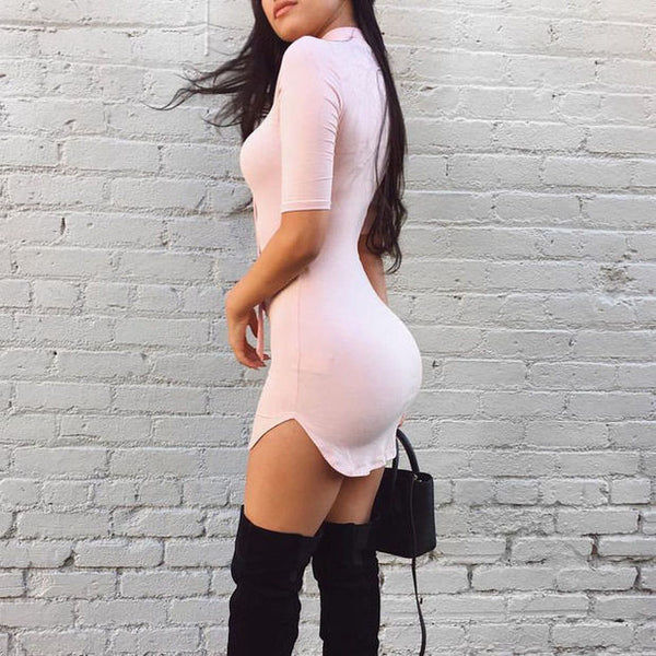 Sexy Tight Solid Color V-Neck Dress