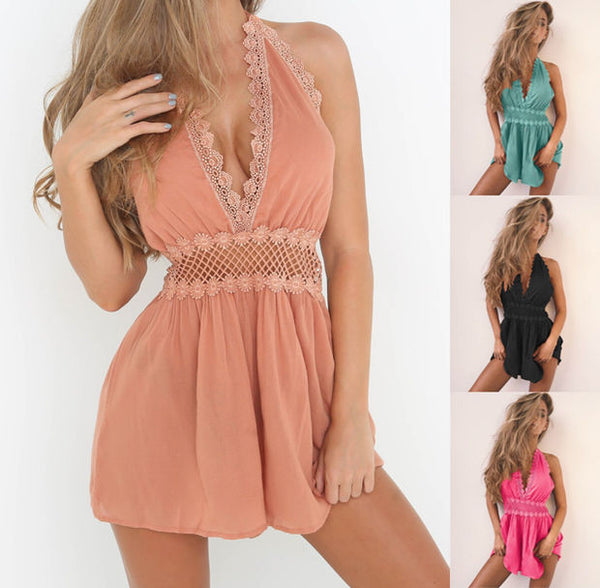 Fashion Sexy Halter Sleeveless Deep V Backless Hollow Lace Stitching Romper Jumpsuit Shorts