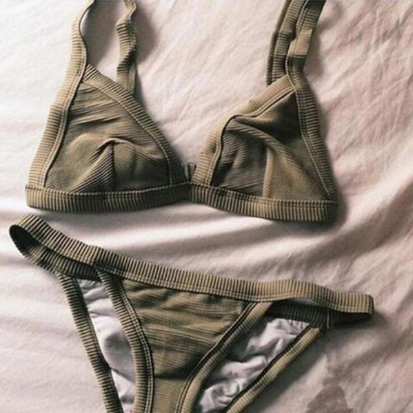Sexy Army Green Beach Bikini Set Swimsuit Swimwear
