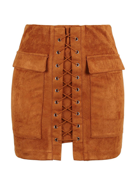 Brown Faux Suede Lace Up Front Pencil Mini Skirt