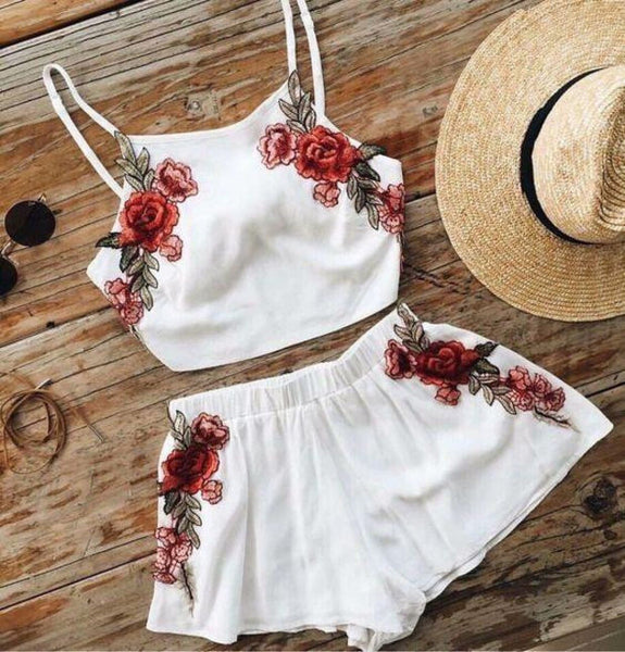 Embroidery Flower Sexy Fashion Shorts Strap Vest Set Two-Piece