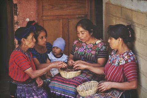 The Ruk'u'x Ulew (pronounced Roo-koosh Oo-lay-oo) women's cacao collective in San Marcos la Laguna at Lake Atitlán, Guatemala. Each time the collective sells cacao, 100% of the profits of that sale go back to the Mayan indigenous families who grow and prepare the cacao.