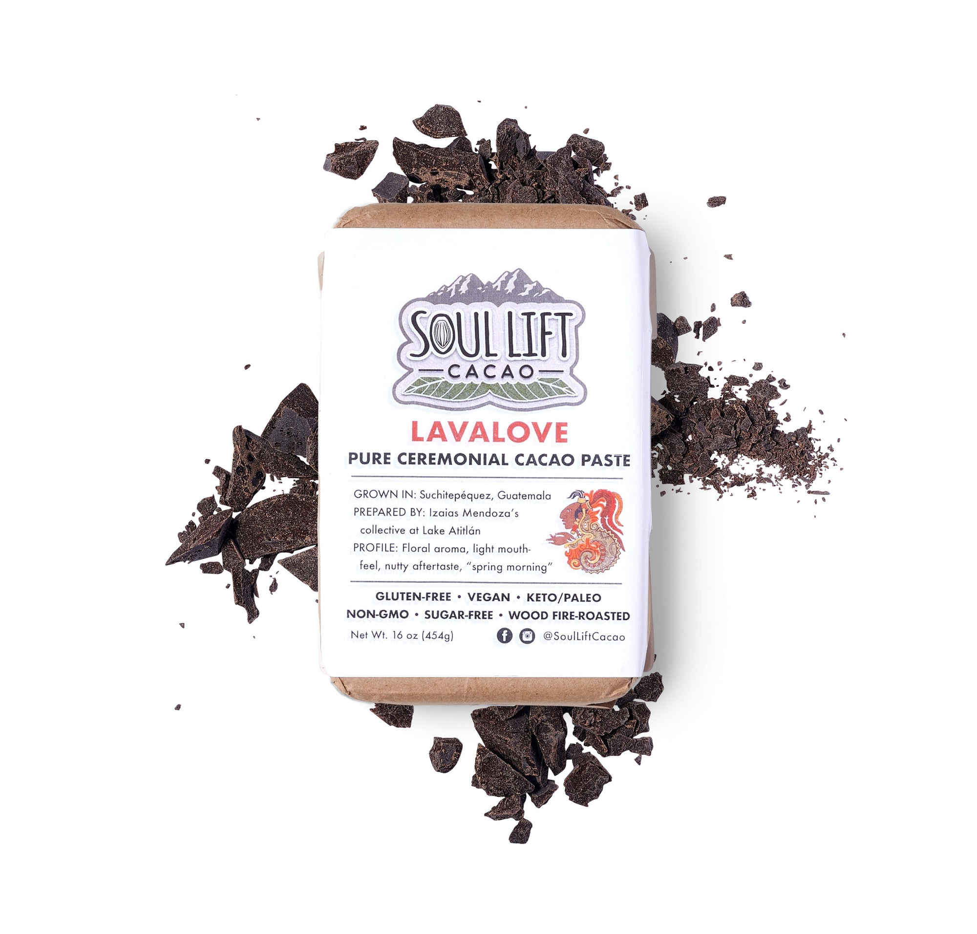 Lavalove 100% Pure Ceremonial Cacao Paste - 1lb Block