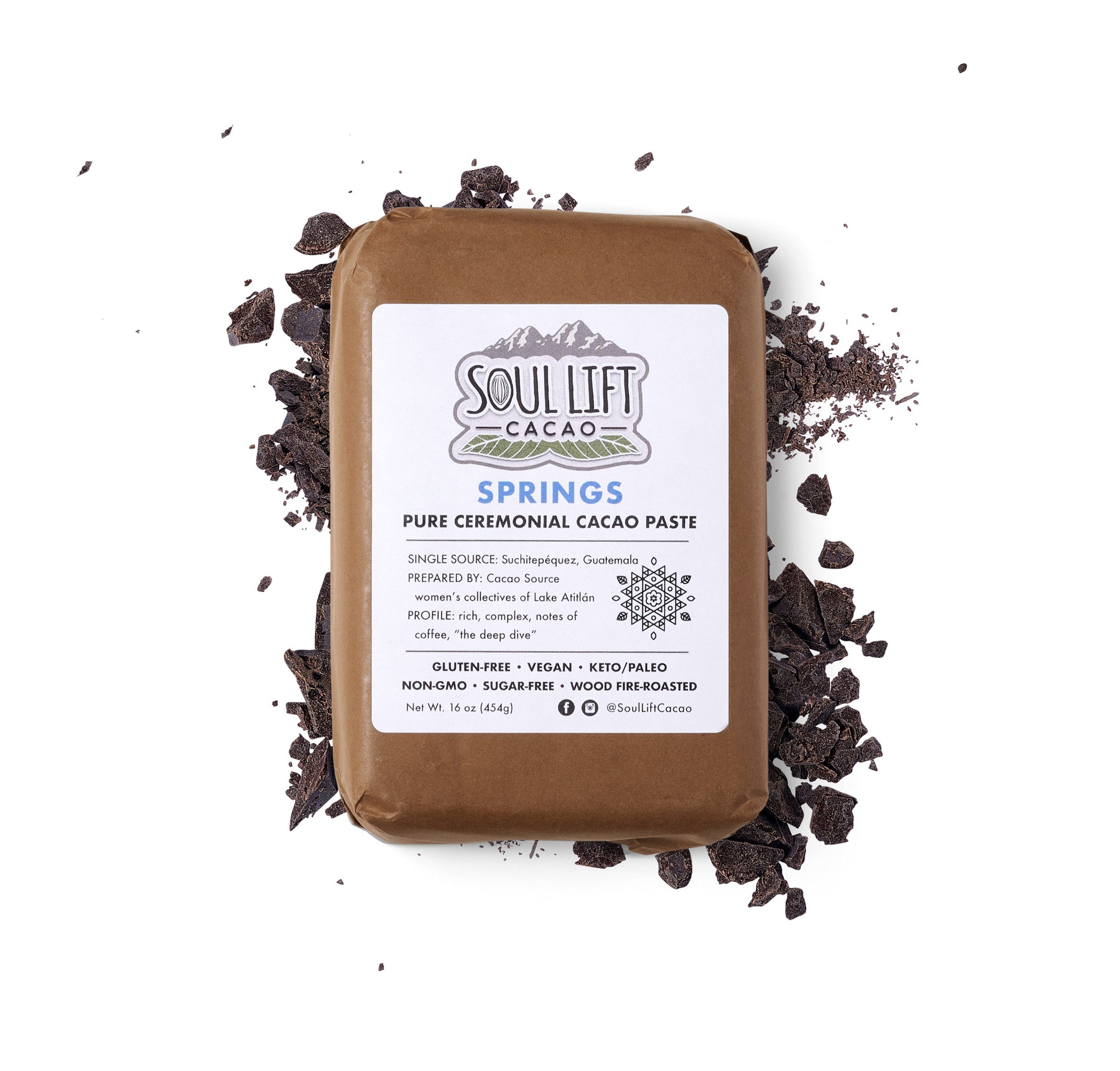 Springs 100% Pure Ceremonial Cacao Paste - 1lb Block