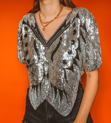 Vintage 80's Sequin Butterfly Top M/L