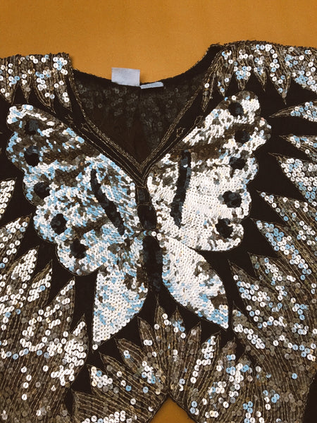 Vintage 80's Sequin Butterfly Top S/M