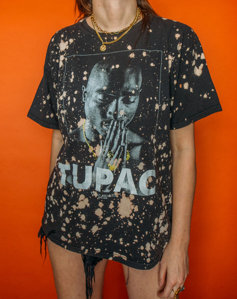 Tupac Small Splatter Bleached Tee (XL)