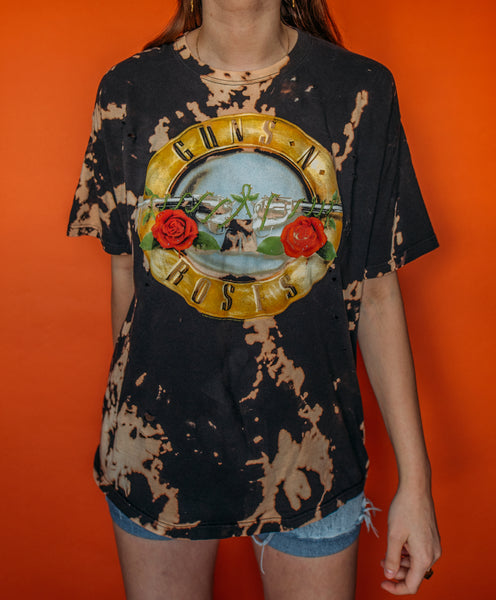 Guns And Roses Bleached and Distressed Tee (XL)