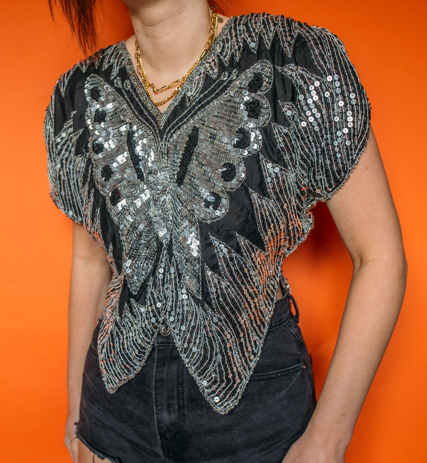 Vintage 80's Sequin Butterfly Top XS/S