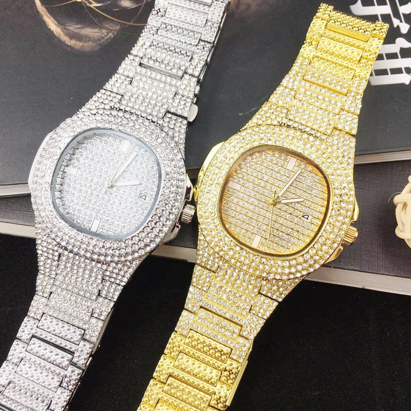 Iced Out Gold Quartz Watch Mens