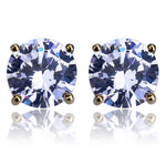 Iced Out Gold Stud Earring Circle 8mm CZ Stone