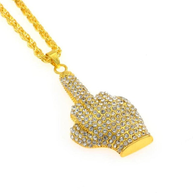 Iced Out Middle Finger Gold Pendant
