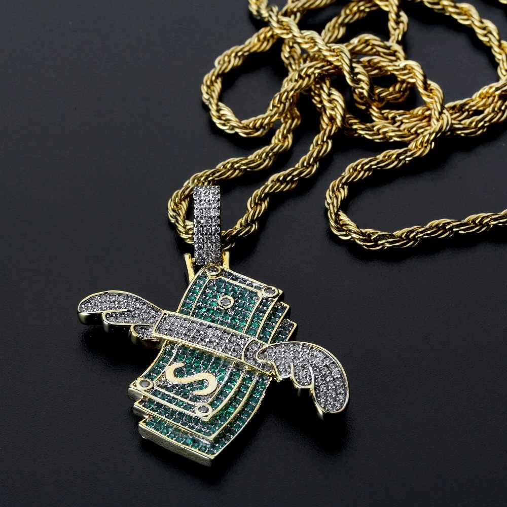 Iced Out Flying Cash Stack Pendant