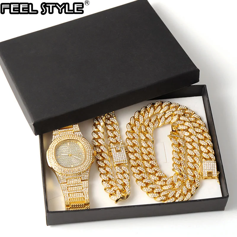 Necklace +Watch+Bracelet Iced Out