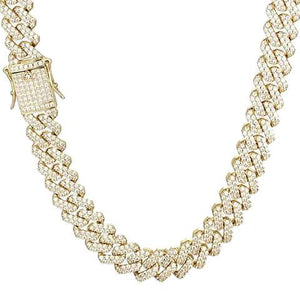 Iced Out 20mm Prong Cuban Link Chain Gold