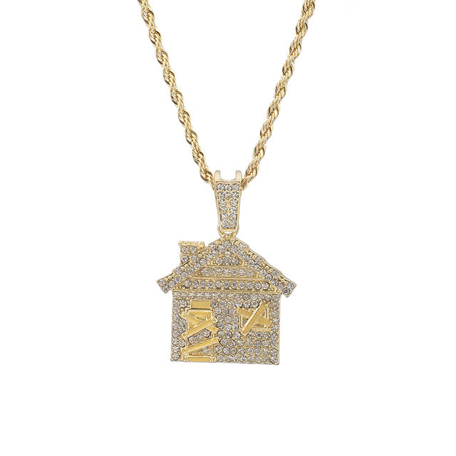 Iced Out Trap House Pendant