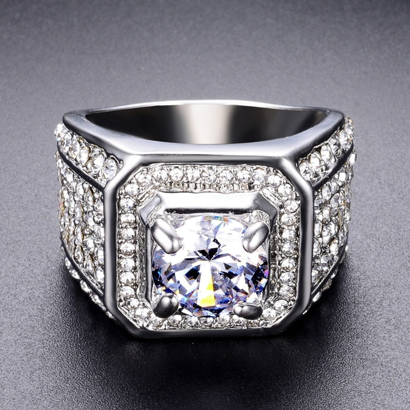 Iced Out Square Crystal Stone Ring