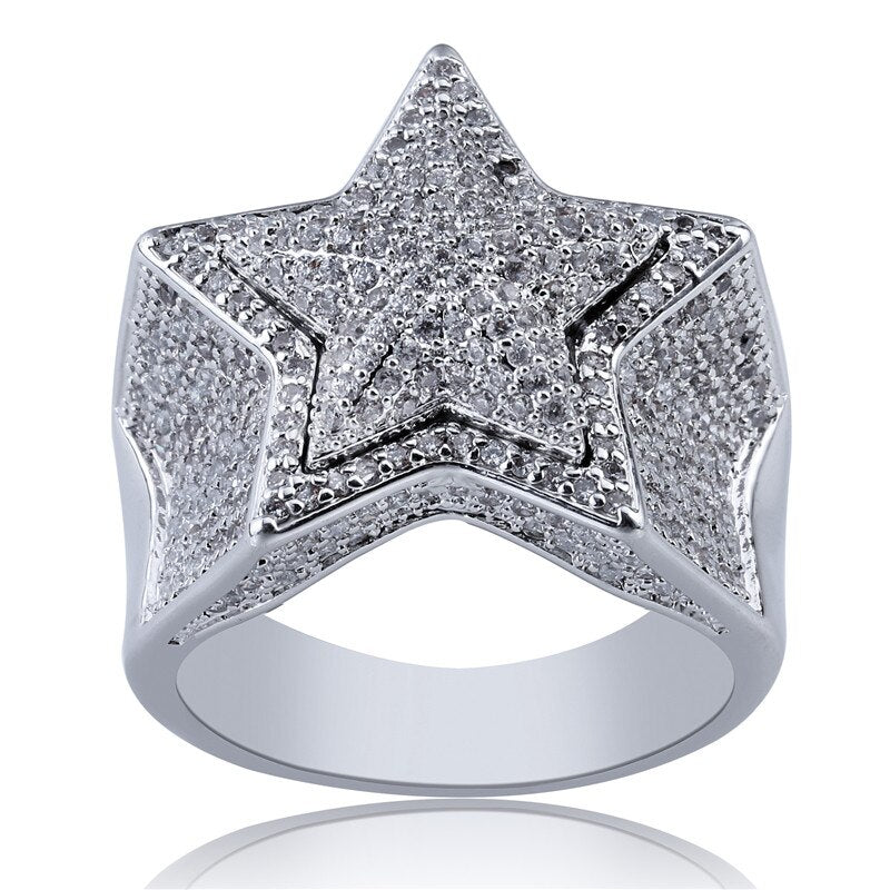 Iced Out Silver Star Ring