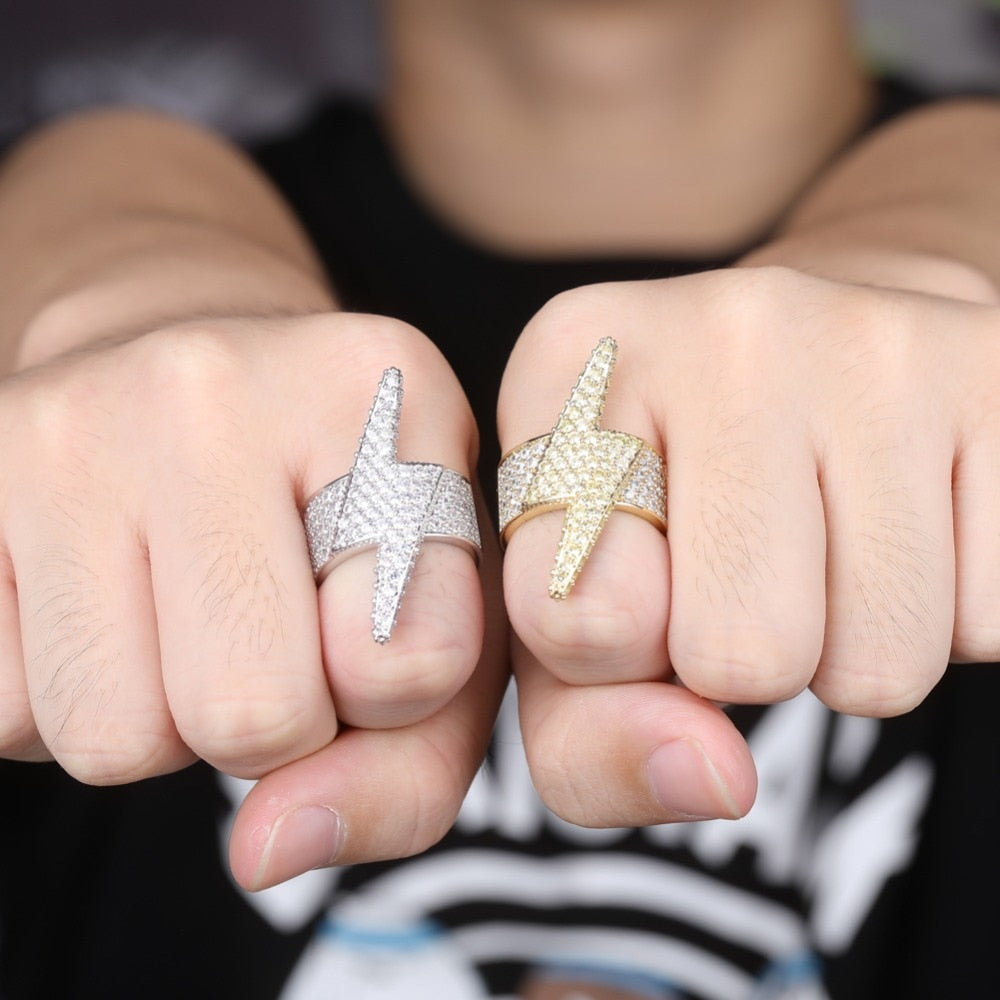 Iced Out Lightning Bolt Ring