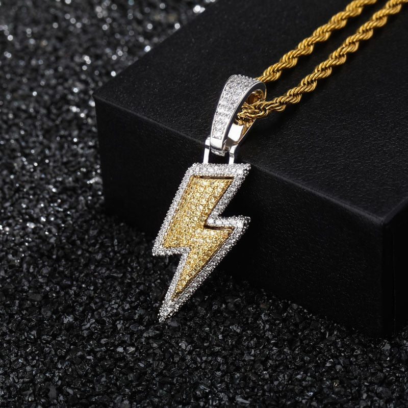 Iced Out Lightning Bolt Pendant