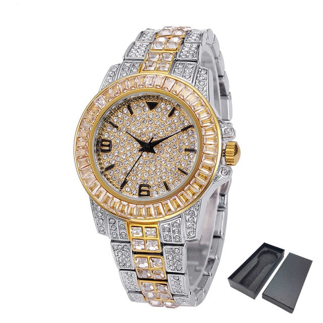 Iced Out Luxury 18k Gold Plated Two Tone Watch