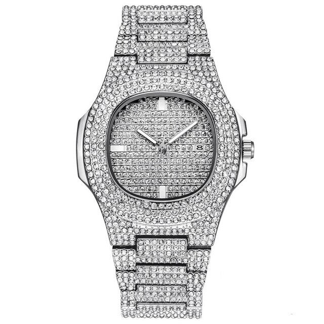 Iced Out Silver Quartz Watch Mens