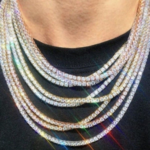 Iced Out 1 Row Silver Tennis Chain