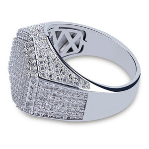 Iced Out Sliver Hexagon Ring