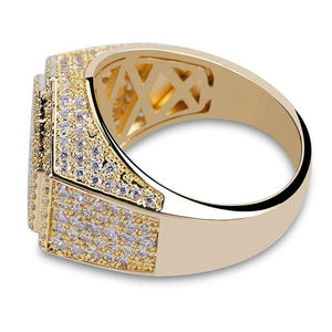 Iced Out Gold Hexagon Ring