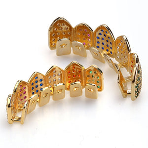 Iced Out Gold Multi Color Grillz