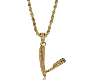 Micro Pave Gold Cubic Zircon Razor Necklace 24Inch