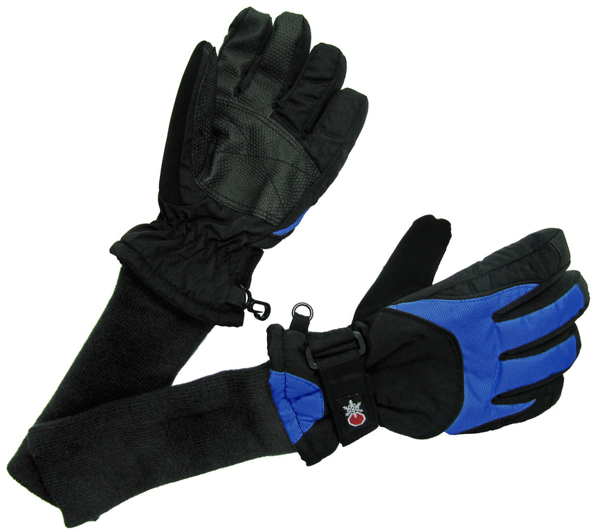 SnowStoppers Ski and Snow Board Gloves Black with Blue