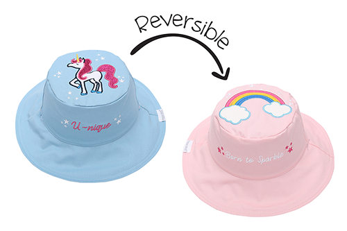 Flapjack Kids Reversible Sun Hat Rainbow/Unicorn