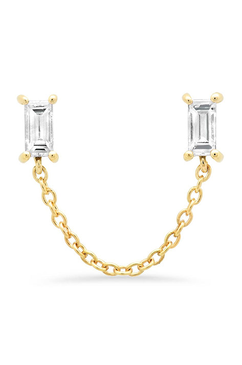 Diamond Baguette Chain Stud